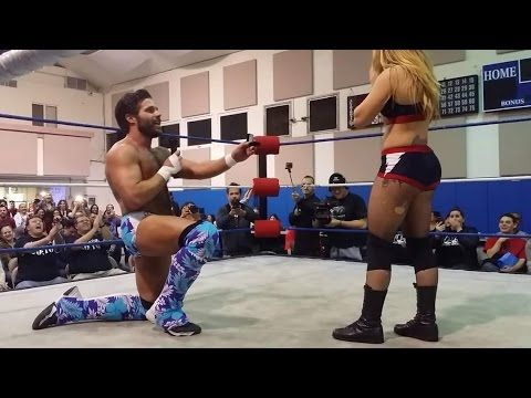 Joey Ryan proposes to Laura James in the middle of their Pro Wrestling match - YouTube