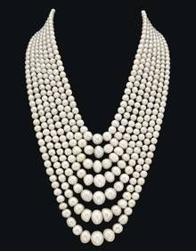 SEVEN STRAND NATURAL PEARL AND DIAMOND NECKLACE ~ Property of a royal family. ~ Sold for: $9,078,640 The demand for natural pearls is still proving to be strong and these pearls are certainly impressive in size.