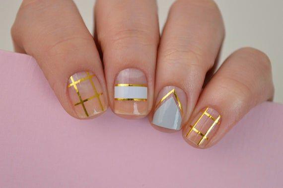 Gloss Finish Nail Polish Strips 16 Per Pack Gold Abstract Nail
