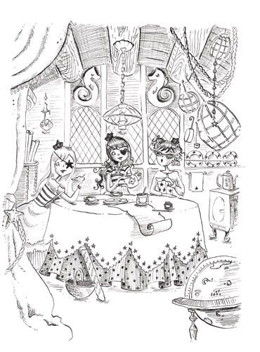 Erica Jane Waters Illustration - erica jane waters, fiction, commercial, tween, teen, teenagers, black and white, black line, black and white line, people, girls, girly, pirates,washing, tea