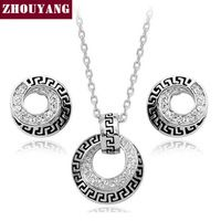 ZHOUYANG ZYS049 Классический Platinum Покрытием Ювелирные Изделия Серьги Ожерелья Rhinestone Сделано с Австрийскими Кристаллами CZ Оптовая