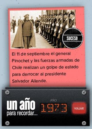 El 11 de septiembre de 1973 ocurre el Golpe de Estado en Chile, contra Salvador Allende.  #Dictadura