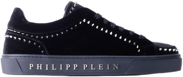Philipp Plein Black Velvet Studded Mid-top Rose Sneakers