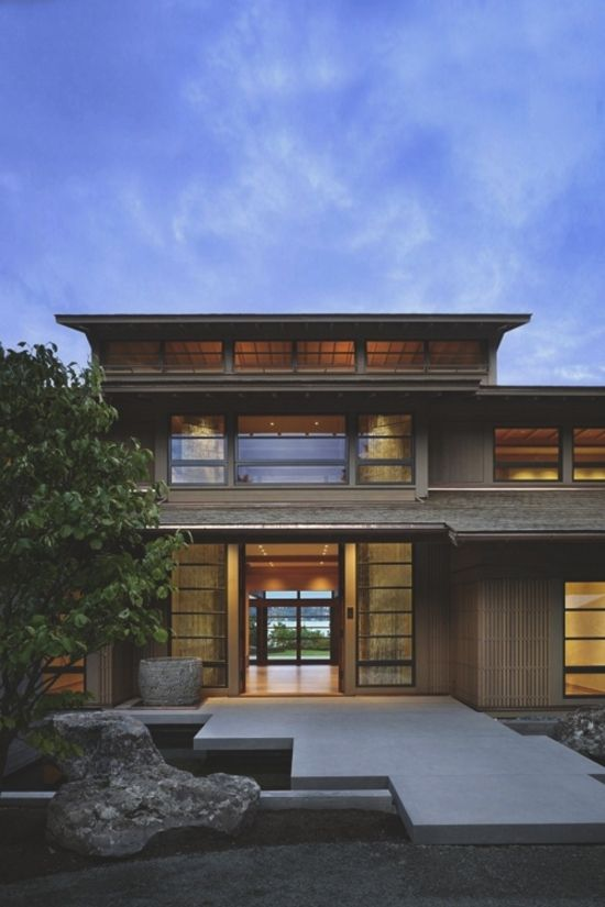 Contemporary Craftsman Homes on Japanese Engawa House Lake