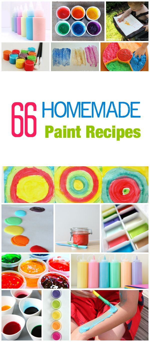KIDS FUN! 66 Incredible Homemade Paint recipes for any day - bath - sensory - fun - edible - outside - window - science - body and face. It is all here for a total painting experience