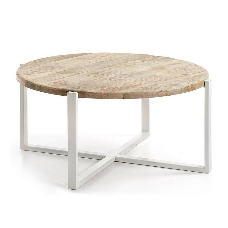 Kave Mawenzi Ronde Salontafel - De Mawenzi Salontafel van Kave is een ronde design tafel met een mangohouten tafelblad en een wit metalen onderstel. Zeer stevige en stabiele tafel van 40 centimeter hoog die geschikt is voor ieders interieur. Een ontwerp dat gemakkelijk te combineren is met diverse andere design meubelen. Bovendien is de Mawenzi Salontafel ook verkrijgbaar bij Zooff als bijzettafel uitvoering.