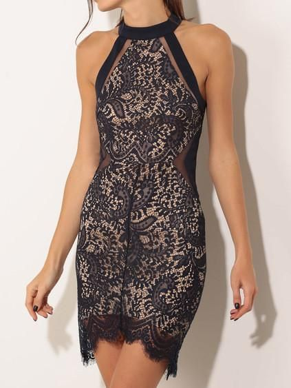 halter lace dress, black bodycon dress, embroidered black dress - Crystalline