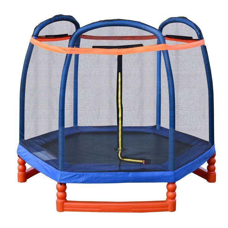 Giantex 7FT Trampoline Combo w/ Safety Enclosure Net Indoor Outdoor Bouncer Jump Kids