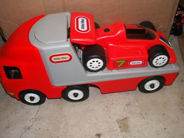 Little Tikes Large Race Car Carrier Hauler Semi Truck