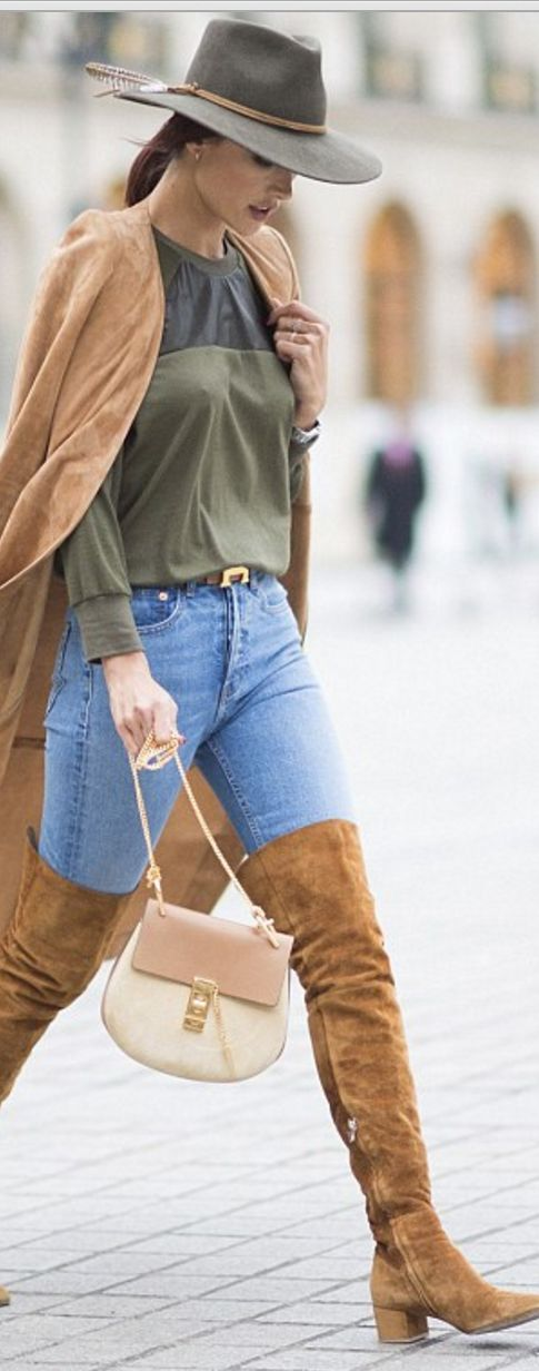 Who made Alessandra Ambrosio's brown suede coat, thigh high boots, and tan handbag?