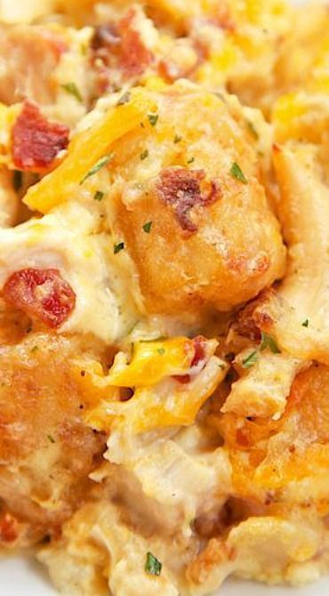 """Cracked Out"" Chicken Tater Tot Casserole ~ Crazy good!"
