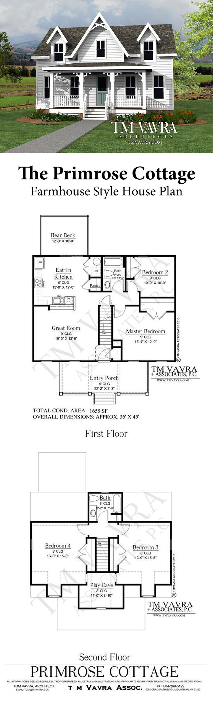 The Primrose Cottage house plan is a charming home design that fits all your needs in less than 2,000 sq. feet!  The master and second bedrooms are easily accessible on the first floor, while two large bedrooms and a play area upstairs will be perfect for the kids. The extra counter space and bar area in the kitchen make this home great for entertaining. You can enjoy the summer breeze on either the covered front porch or the rear deck. We are happy to customize this home plan for your…