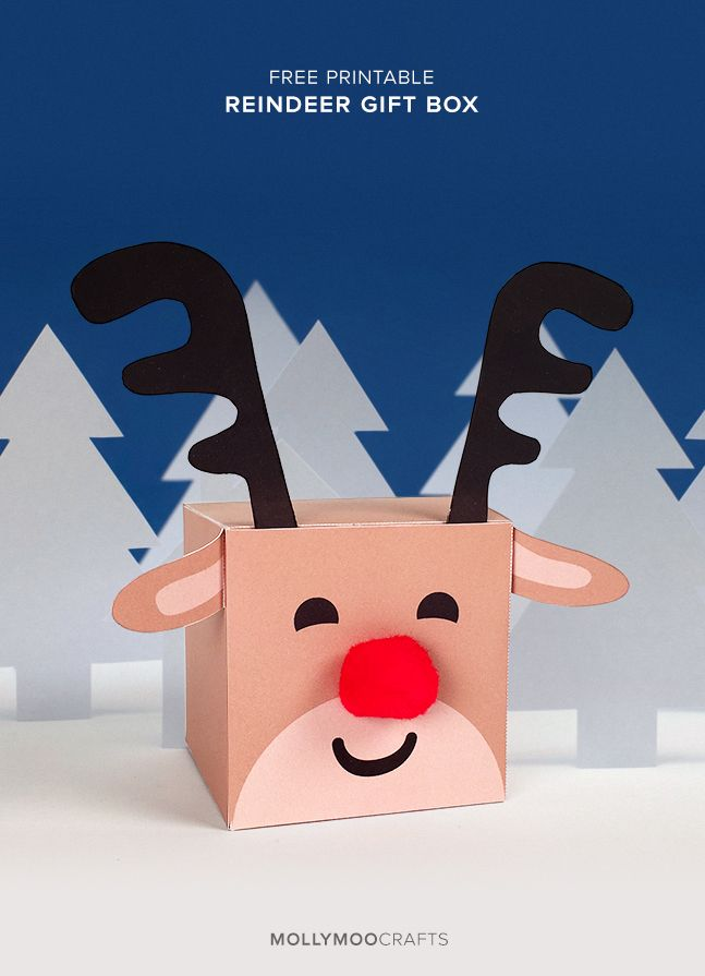 A little free printable treat for the beginning of all things festive! A sweet reindeer gift box, or treat box, depending on what special surprise you want to hide inside | MollyMooCrafts.com