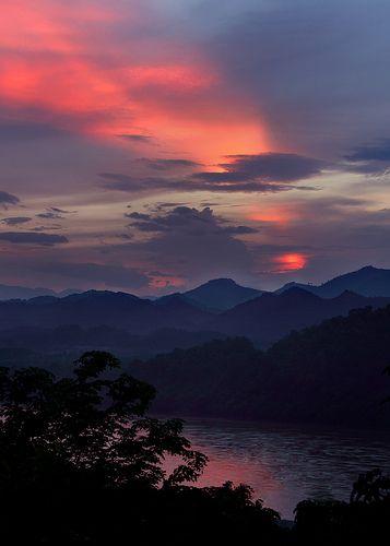 Sunset Over the Mekong River in Luang Prabang, Laos.
