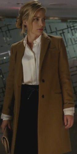 coat, silk blouse, pencil skirt