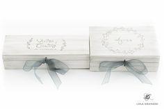 #Caja de #madera porta #anillos y #arras, #boda Víctor y Cristina, pintadas a mano. www.lolagranado.com