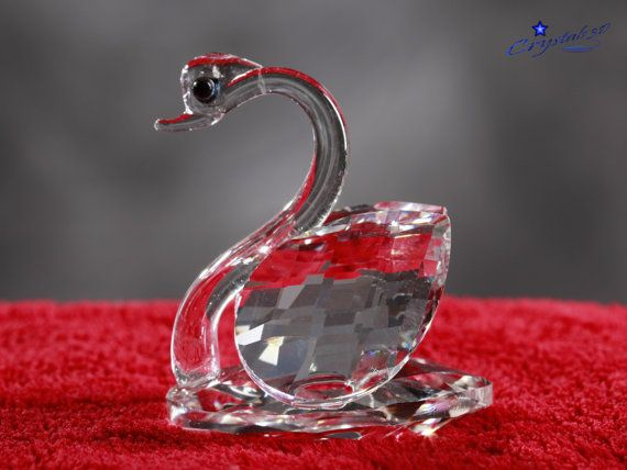 Crystal swan figurine / Good luck amulet / by Crystals3DEngraving