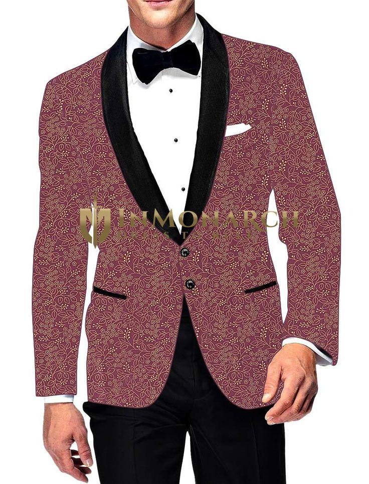 Mens Burgundy Cotton Blazer Printed Two Button #Blazer #bespoke #menswear #weddings #groom #indianwear #Bollywood #Fashion #Style #Handsome #Inmonarch #jacket