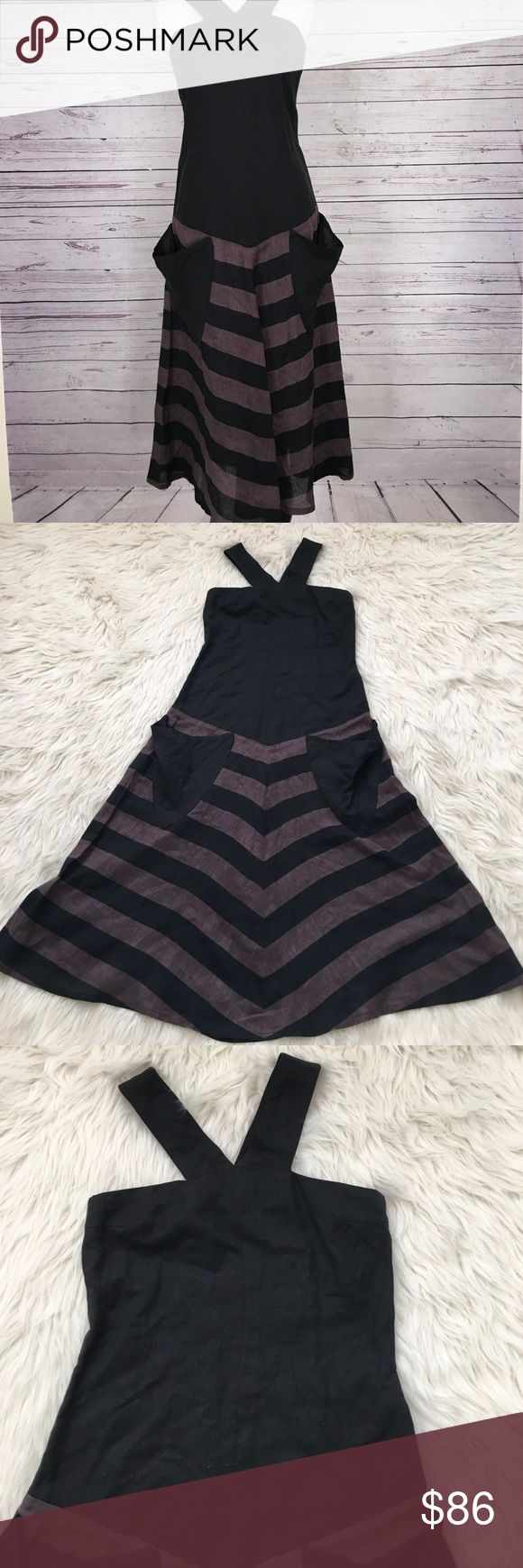 Sonia Rykiel runway chevron pocket dress EUC no rips or stains, no size description, see pictures for measurements Sonia Rykiel Dresses Maxi