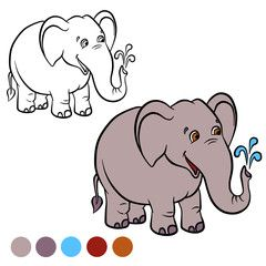 coloring page color me elephant little cute stands and smiles