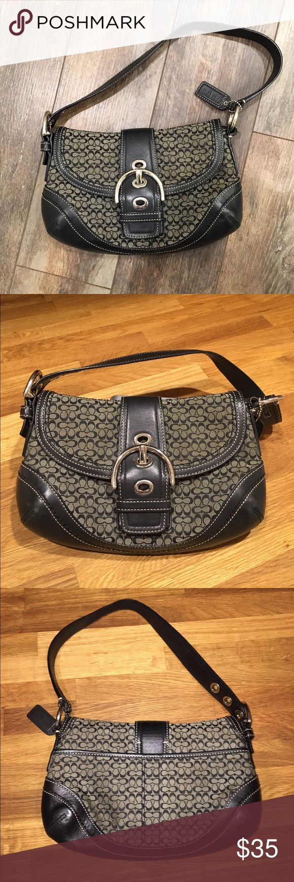 """Coach purse COACH purse, GUC.  👜 Buckle is for aesthetic purposes, magnetic snap behind it secures the purse.   Leather, fabric and stitching all in great condition.  Minor finish rubbed off at corners of bottom, and some scratches on metal areas.   10"""" wide x 6.5"""" tall x 2"""" deep (2.5"""" at corners).  👜 Please feel free to ask any questions. Coach Bags Mini Bags"""