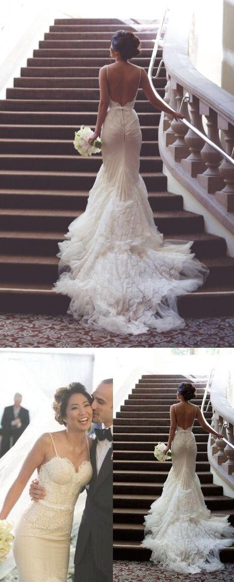 Backless Wedding Dresses,Lace Mermaid bridal gowns,Gothic Sexy Wedding Dresses,White wedding dress,Open Back with spaghetti straps wedding dress,