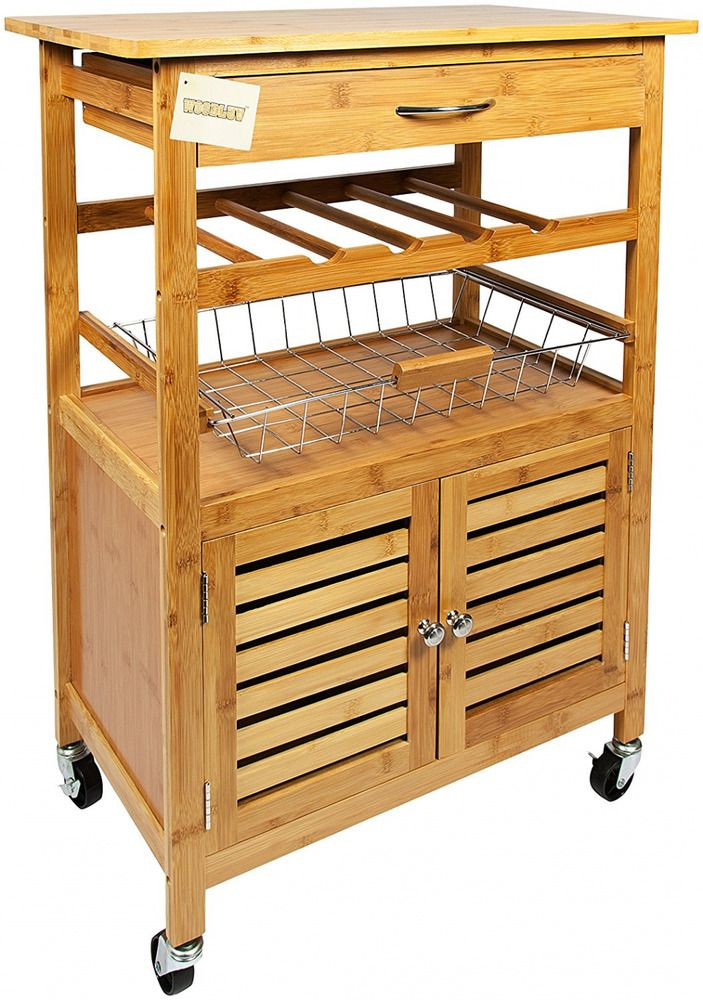 Bamboo Kitchen Storage Trolley Cart Wheelies Wine Rack Cabinet Drawer Basket #BambooKitchenStorageTrolley