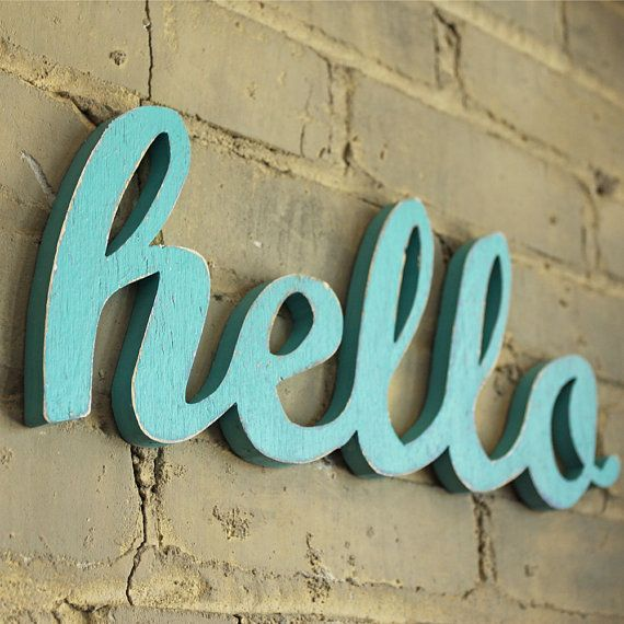 SALE hello script handmade wood sign  wall by OhDierLiving on Etsy, $38.00