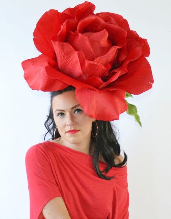 Giant,Rose,Red,Huge,Fascinator,Bloom,headpiece,headdress,Derby hat,Flower,headdress, lower,HAT