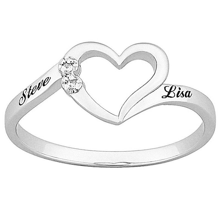 "Top-Engraved Sterling Silver Diamond ""One Heart"" Name Promise Ring. I want something like this please;-)"