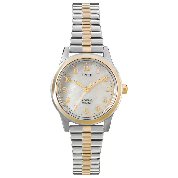 A two-tone case and expansion band characterizes this women's watch from Timex. The Elevated Classics timepiece showcases a white mother of pearl dial with Indiglo night light.