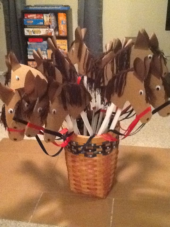 Homemade hobby horses-the kids could decorate the face as a craft!