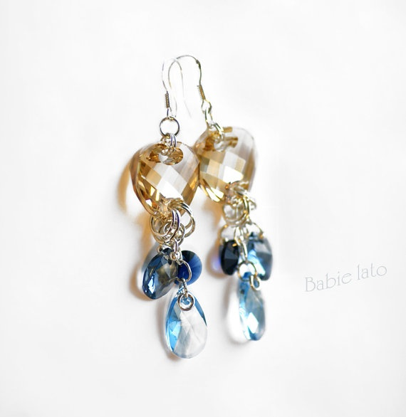 Old gold in the sea //  sapphire gold and by ILoveIndianSummer, £37.00