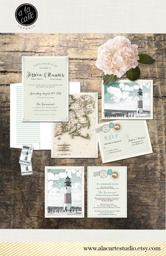 real simple unique wedding invitations%0A Destination wedding invitation Nantucket Massachusetts illustrated wedding  invitation Coastal wedding lighthouse vintage Deposit Payment