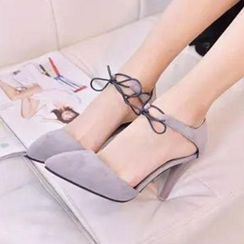 レディース用 靴 サンダル シンプル ヒール 大人かわいい レースアップ ブラック グレー イエロー ストラップ付き / シューズ(Love Berry [ラブベリー] のパンプス)|iQON