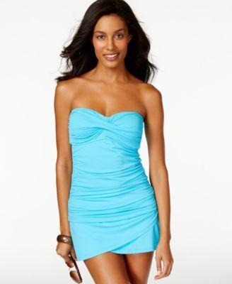 Anne Cole Twist-Front Ruched Tankini Top & Tulip Swim Skirt | macys.com