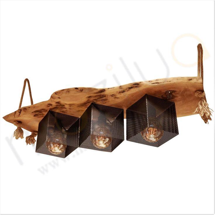Mozilya Doğal Ahşap Metal Avize  wood wooden lamp chandelier lighting unit  www.mozilya.com