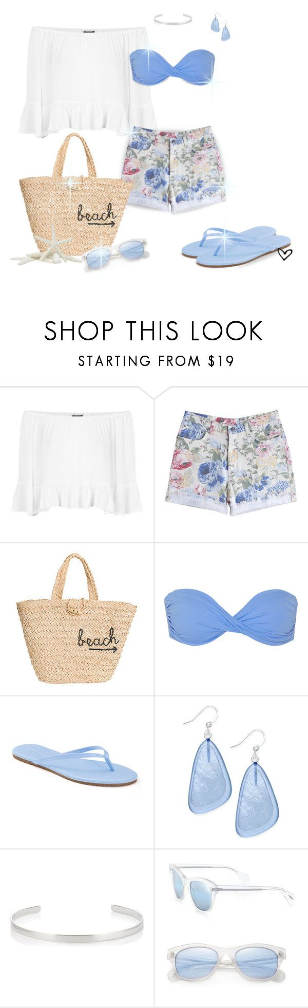 """""""~overland.com~ To-The-Beach Crocheted Raffia Tote ~"""" by justwanderingon ❤ liked on Polyvore featuring Topshop, MTWTFSS Weekday, Hat Attack, Melissa Odabash, LC Lauren Conrad, Style & Co., Jennifer Fisher, Oliver Peoples, Summer and cutoffs"""