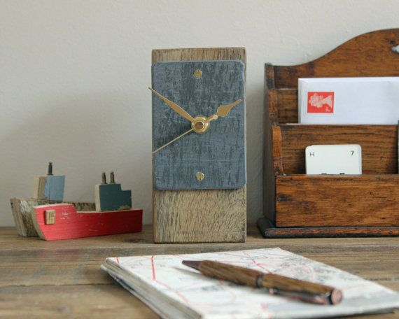 Small desk clock salvaged oak and reclaimed slate by Reclaimed Time