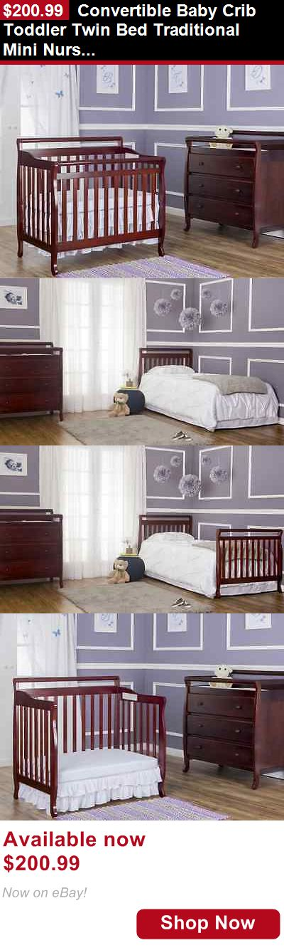 Cribs: Convertible Baby Crib Toddler Twin Bed Traditional Mini Nursery Furniture 4-In-1 BUY IT NOW ONLY: $200.99