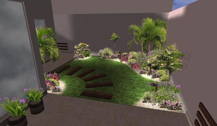 modelo de sedero con huellas ceramicas para un jardin pequeño