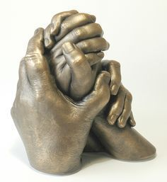 casting of 4 hands - plaster with superb bronze painting with patina lifecasting bodycasting