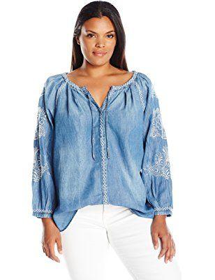 Vintage America Blues Women's Plus Size Carmella Cotton Tencel Woven Top