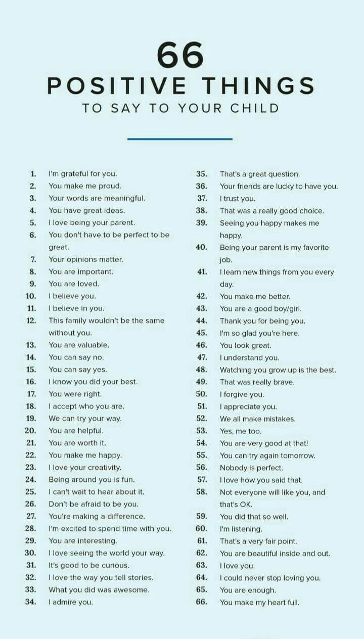 66 positive phrases for children