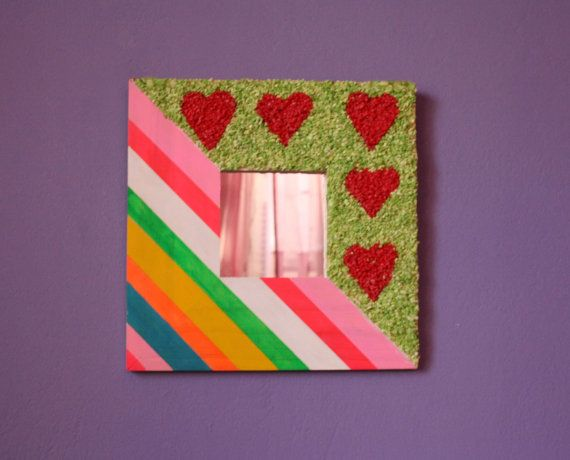 A beautiful #mirror  for a girl teenager's  bedroom  decoration! Welcome and thanks for visiting my store!   This mirror  is great for your teenager daughter bedroom  .It... #housewares #egst #picture #wooden #multicoloured #strips #grit #pink