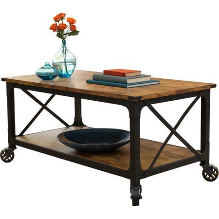 Better Homes And Gardens Rustic Country Coffee Table, Antiqued Black/Pine  Finish Image 2