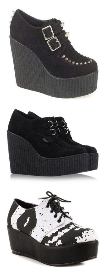 """""""Creepers"""" by rosielover ❤ liked on Polyvore featuring shoes, boots, heels, creepers, goth platform boots, platform boots, high heel platform boots, wedge heel boots, lace up platform boots and wedges"""