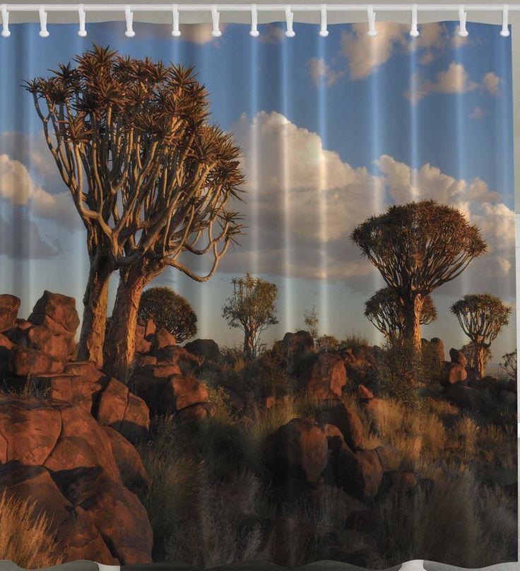 Southwestern Shower Curtain Western Joshua Tree Rocks Sun Bathroom Decor Hooks Trees