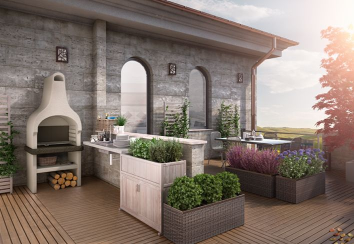 Un terrazzo per rilassarsi e cucinare! Scopri come progettare un terrazzo per passare il tempo libero e cucinare: http://www.leroymerlin.it/idee-progetti/progetti-esterno/terrazzo-funzionale