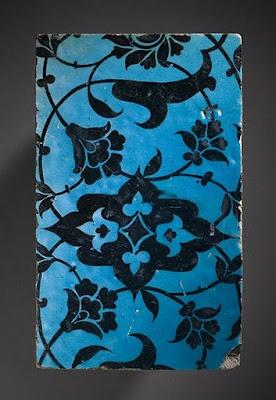 Tile   Origin: Syria, Damascus   Period:  16th century   Collection: Shinji Shumeikai Acquisition Fund (M.2001.85.4)   Type: Ceramic; Architectural element, Fritware, underglaze-painted, 4 1/4 x 7 x 7/8 in. (10.8 x 17.78 x 2.22 cm)